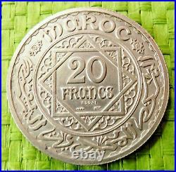 RARE! ESSAI 1347 H 1928 20 francs argent MAROC Mohammed V monnaie pièce RARE