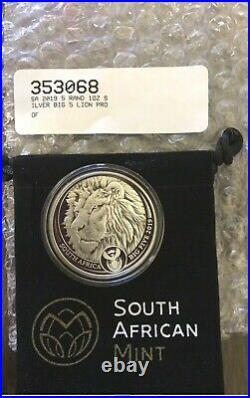 RARE South Africa 2019 Big Five Lion 5 RAND 1 OZ PROOF Sliver Coin SHIP TODAY