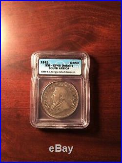 Rare 1892 South Africa 5 Shillings Silver coin ICG XF-40 Det