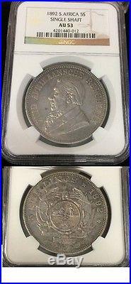 Rare 1892 South Africa Large silver 5 shillings Single Shaft- Kruger- NGC AU 53