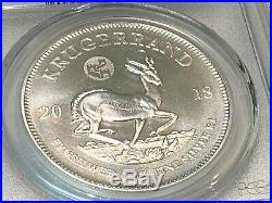 Rare 2018 Silver Krugerrand Ms70 Top Pop. Special China Great Wall Privy