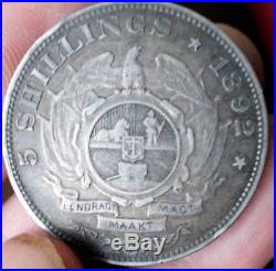 Rare SOUTH AFRICA, ZAR 1892 5 SHILLINGS Crown Single Shaft Silver (. 925)