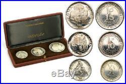 Ras-Al-Khaimah, Riyals from 1970, set of 3 silver coins, original package