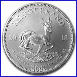 Roll of 25 2018 South Africa 1 oz Silver Krugerrand BU (Tube, Lot of 25)