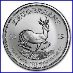 Roll of 25 2019 South Africa 1 oz Silver Krugerrand BU (Tube, Lot of 25)