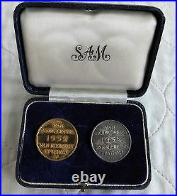SOUTH AFRICA 1952 VAN RIEBEECK 1/2oz 22CT GOLD & SILVER 2 MEDAL BOXED SAM SET