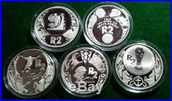 SOUTH AFRICA 2006-10 Sterling silver 2 Rand World Cup 5pc PROOF set in caps