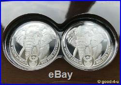 SOUTH AFRICA BIG FIVE ELEPHANT 2x 1 oz Silver 5 Rand 2019 Proof Set