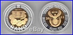 SOUTH AFRICA SILVER PROOF BIMETAL 5 RAND COIN 2011 YEAR 90th ANNI RESERVE BANK