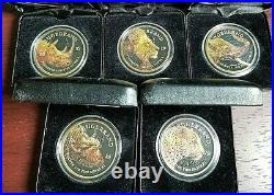 Set of 2019 Voltaic Big 5 South African Krugerrand 1 oz. 999 Silver Coins