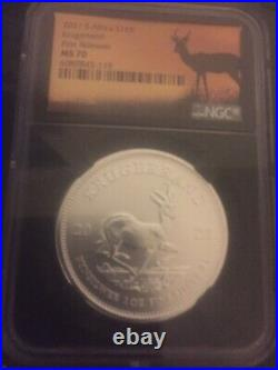 Silver coin NGC 2021 S. Africa S1 KR Krugerrand first Releases MS 70
