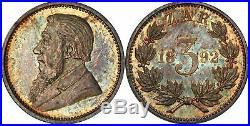 South Africa 1892 3 Pence (Threepence), PCGS PR64. Original toning, high quality