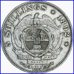 South Africa, 1892 Silver 5 Shillings, About Extremely Fine, One Year Type, Rare