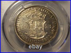South Africa, 1923 George V Half Crown, 1/2 Crown PCGS PR 64. 2 1/2 Shillings
