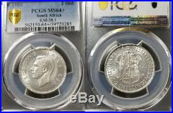 South Africa 1950 2 Shillings Rare PCGS 64+ Highest Graded, Mintage 4,945 struck