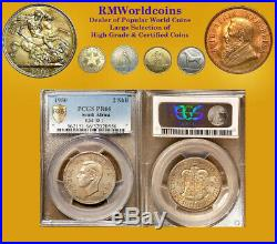 South Africa 1950 2 Shillings Rare PCGS Proof 66, Low Mintage 500 pcs Struck
