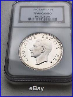 South Africa 1950 Proof 5 Shilling NGC PF 66 CAMEO Only 2 Graded Higher (67)