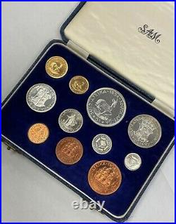 South Africa 1954 11 Coin Proof Set With Gold Original Box SA#28
