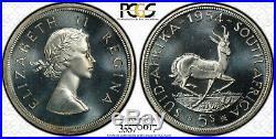 South Africa, 1954 Elizabeth II Five Shillings, 5 Shillings. PCGS PR 66. Cameo