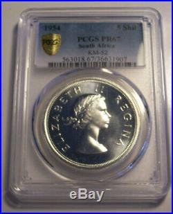 South Africa, 1954 Elizabeth II Five Shillings, 5 Shillings. PCGS PR 67. Crown