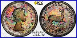 South Africa 1954 Proof Coin Set PCGS PR65 PR67 Stunning Rainbow Toned Set