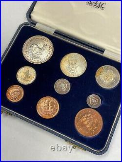 South Africa 1958 9 Coin Proof Set Original Box SA#21