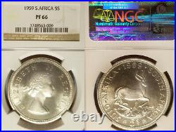 South Africa 1959 5 Shillings Superb Gem Proof NGC Proof 66, Key Date 950 struck
