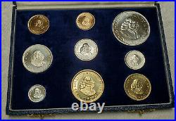 South Africa 1964 1 & 2 Rand Gold Silver Brass 9 Coin Proof Set with BOX