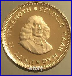 South Africa 1 Rand 1969 Springbok 3.94gr Gold. 917/1000 BU