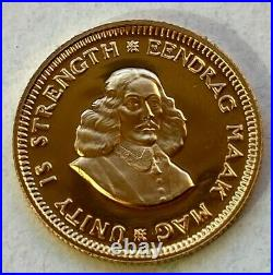 South Africa 1 Rand 1975 Springbok 3.94gr Gold. 917/1000 BU