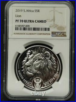 South Africa 2019 Big Five Lion 5 RAND 1 OZ PROOF Sliver Coin NGC PF70 UC