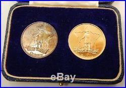 South Africa, 2 Piece Gold & Silver 1952 Van Riebeck Fest Medals, Original Case