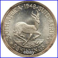 South Africa George VI 1949 5 Shillings Silver Coin Certified Pcgs Prooflike-66