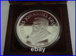 South Africa Krugerrand 5 troy oz Silver Coin 20th Anniv. Wood Box 1967-1987
