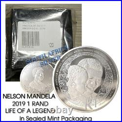 South Africa R1 2019 Silver PROOF coin Protea NELSON MANDELA 1 rand MINT SEALED