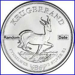 South Africa Silver Krugerrand 1 oz 1 Rand BU Random Date Five 5 Coins
