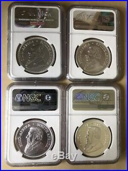South Africa Silver Krugerrand Lot NGC, 2017, 2018, 2019, 2020 with Special Privy