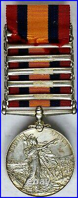 South Africa Victoria Silver Medal with6 clasps to J. F. SMITH, 7TH BTY. R. F. A