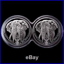 Südafrika 10 Rand 2019 Doppel-Kapsel Serie (1.) Elefant 2 x 1 Oz Silber PP