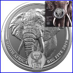 Südafrika 5 Rand 2019 Big Five Serie (1.) Elefant 1 Oz Silber ST
