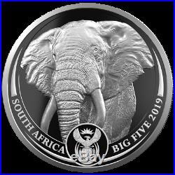 Südafrika Satz Big Five Elefant + Krügerrand Privy 2 x 1 Oz. Silber in Holzbox