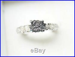 Superb 2.41cts Black/White Rough Diamond Ring, Uncut Raw Diamond 925 silver Ring