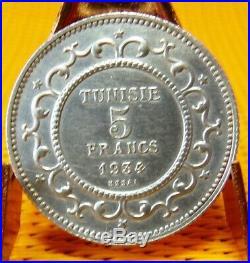 TUNISIE pièce 5 francs 1934 ESSAI argent Ahmed Bey 1348-1361 1929-1942 SPL- SUP