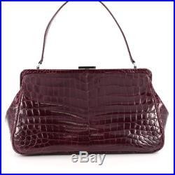 Tiffany & Co. Glazed Crocodile Laurelton burgundy top handle bag