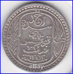 Tunisie 10 Francs 1934 (AH 1353) en Argent. Lec 324 KM# 255
