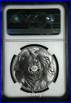 Two NGC PF70 2019 1 OZ SOUTH AFRICA BIG FIVE Lion. 999 SILVER PROOF COIN
