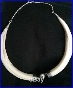 Unusual Vintage silver (SIL) -wild boar tusk AFRICAN CHOKER