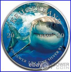 WHITE SHARK Ocean Giants Krugerrand 1 Oz Silver Coin 1 Rand South Africa 2020