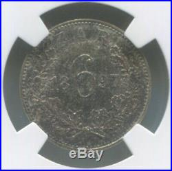 Zar South Africa 6 Pence 1897 Ngc Ms63 F. Mitchell Collection